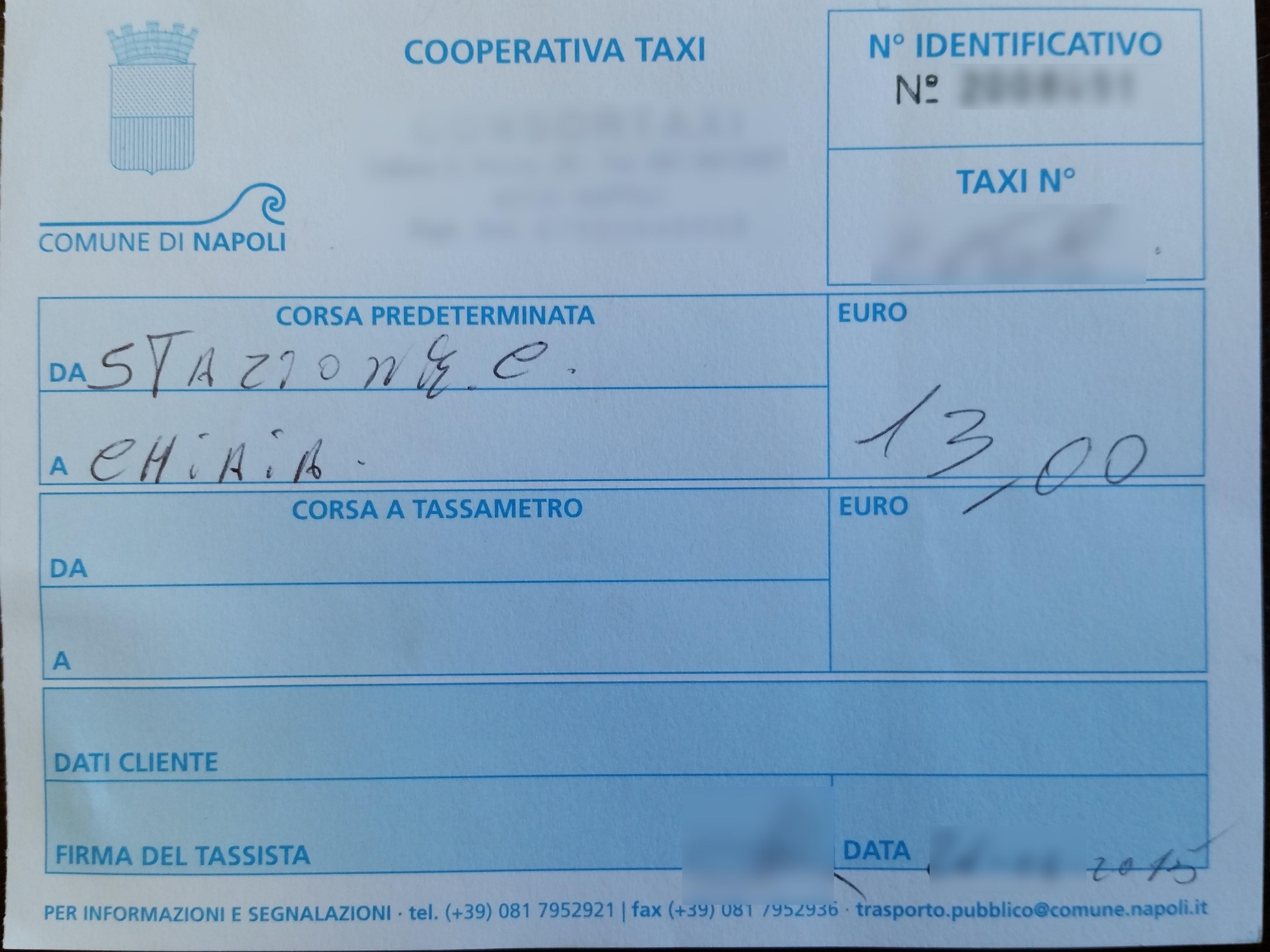 イタリア一人旅:ナポリでタクシーに乗る