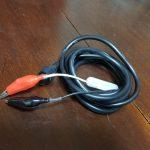 HONDEX:魚探電源コードのワニ口クリップ化